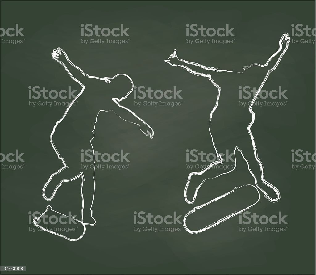 Chalk Skateboard Jump vector art illustration