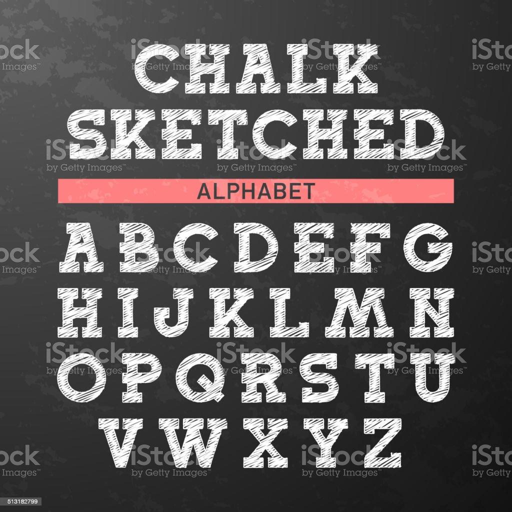 Chalk sketched font, alphabet vector art illustration