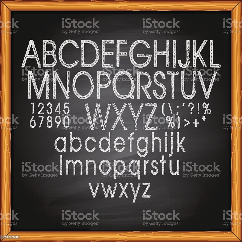 Chalk Text on blackboard vector art illustration