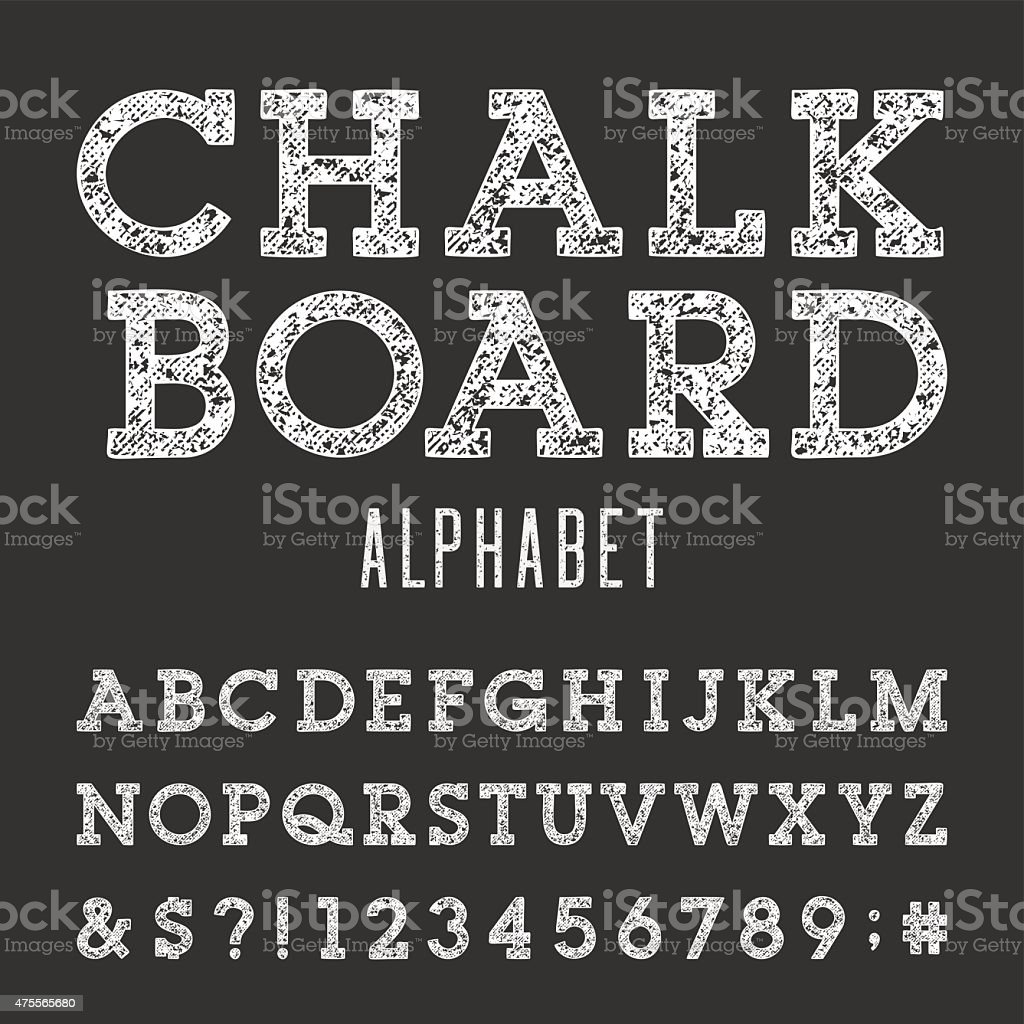 Chalkboard Alphabet Vector Font. vector art illustration