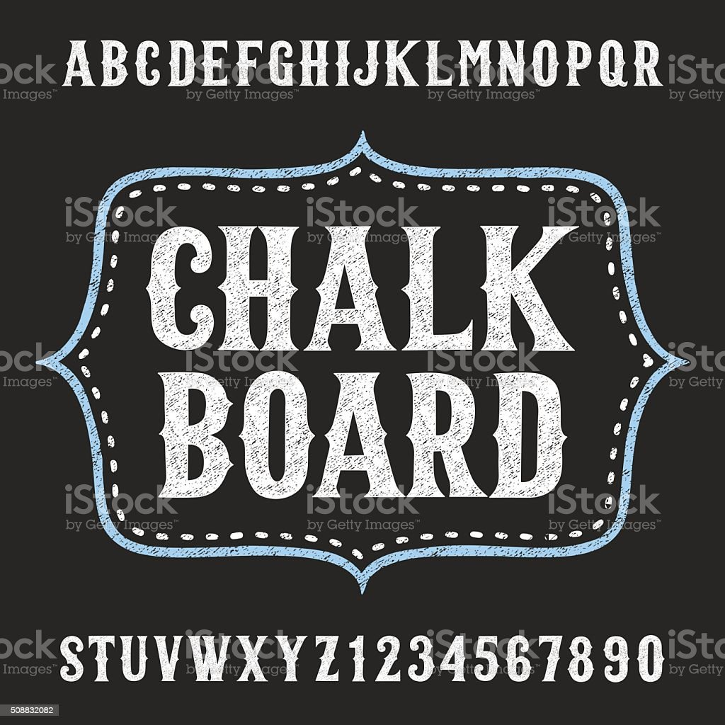 Chalkboard alphabet vector font vector art illustration