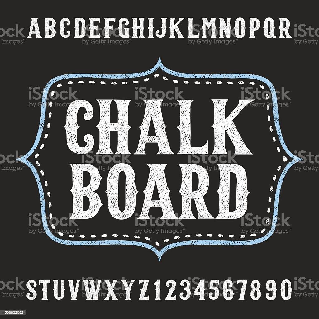 Chalkboard alphabet vector font vector art illustration