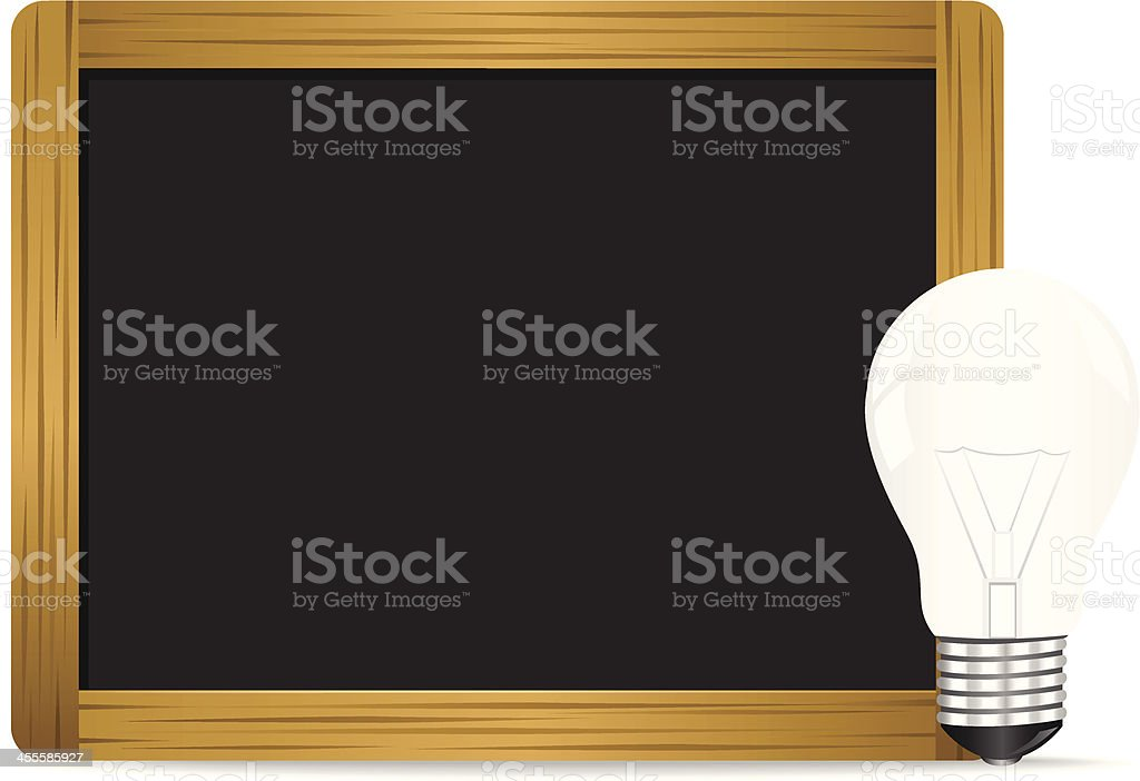 Chalkboard and Bulb royalty-free stock vector art