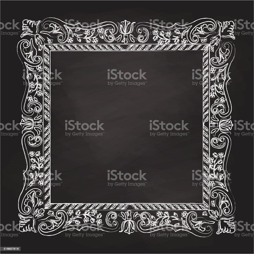 Chalkboard Antique Frame vector art illustration