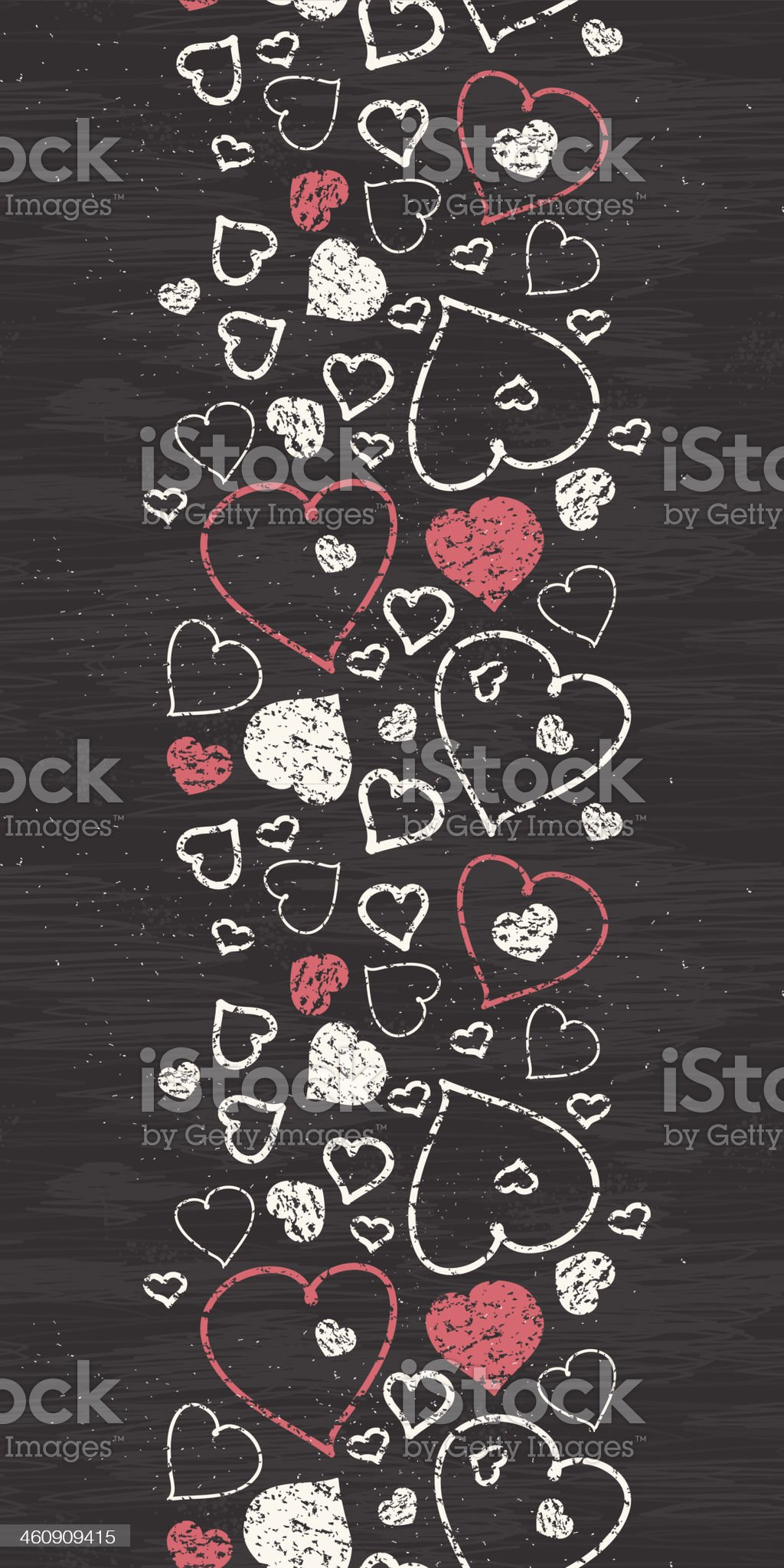 Chalkboard art hearts vertical border seamless pattern background royalty-free stock vector art