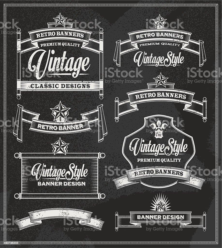 Chalkboard banner and ribbon vector set vector art illustration