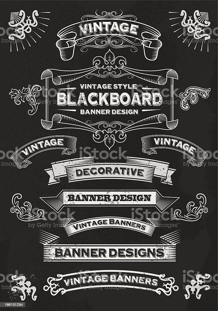 Chalkboard Banners and Frames - Design Elements vector art illustration