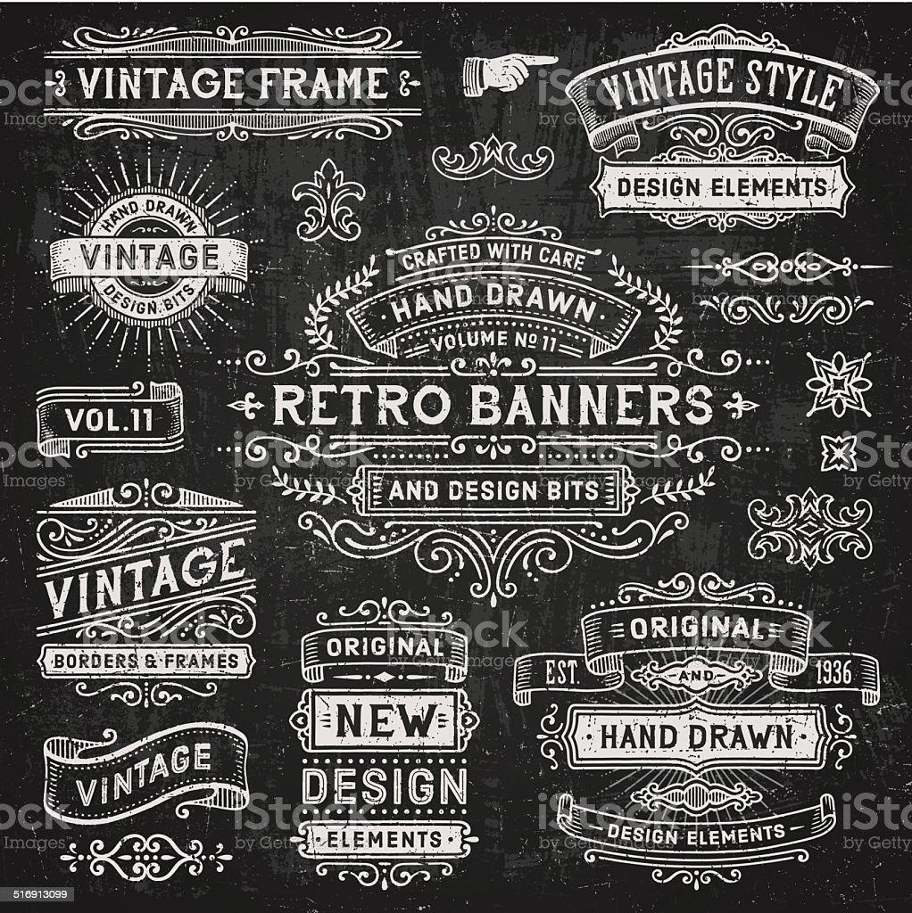 Chalkboard Banners and Frames vector art illustration