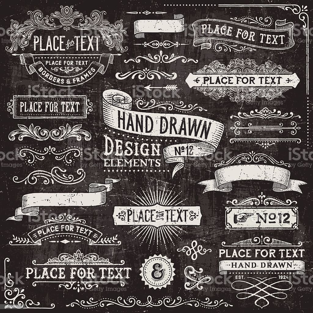Chalkboard Banners,Badges and Frames vector art illustration