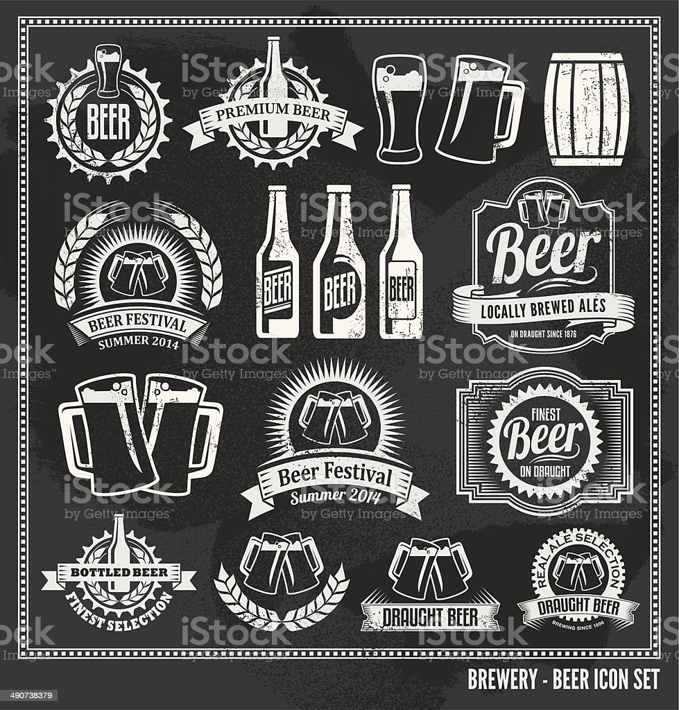 Chalkboard Beer Icon Vector Design Set - blackboard vector art illustration