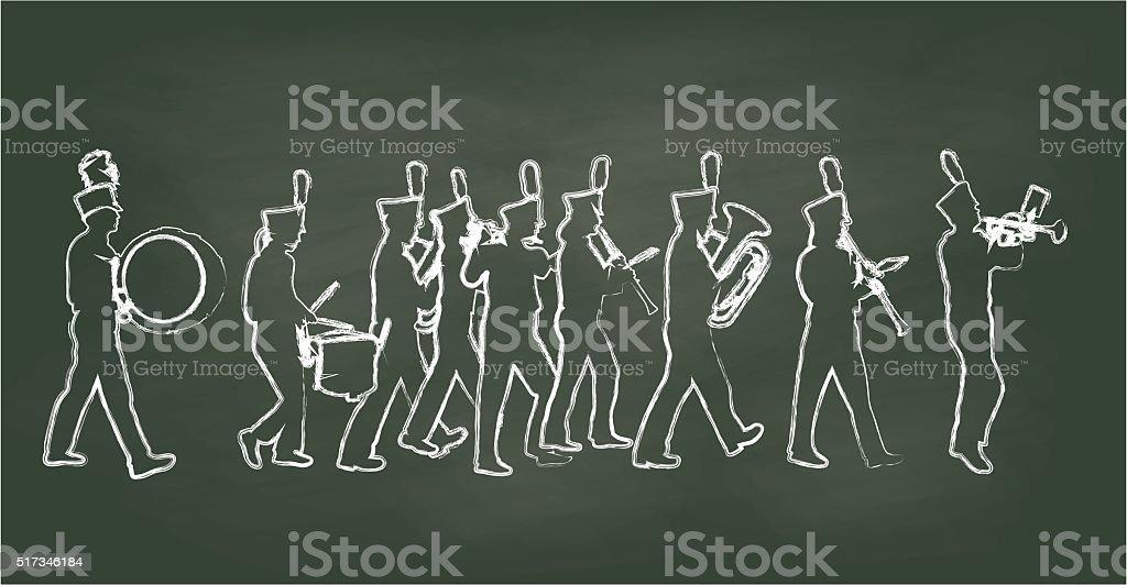 Chalkboard Big Band vector art illustration