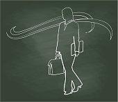 Chalkboard Business Woman Flow Illustration