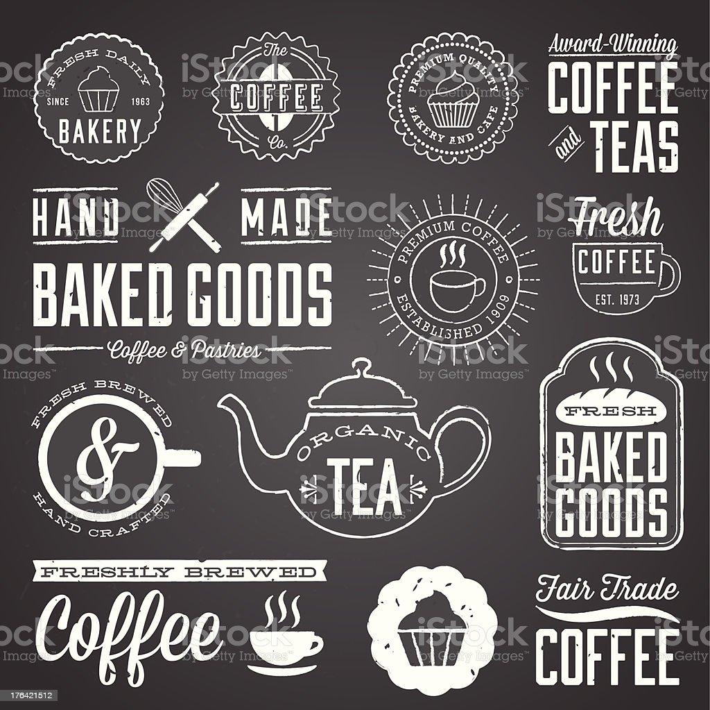 Chalkboard Cafe and Bakery Designs vector art illustration