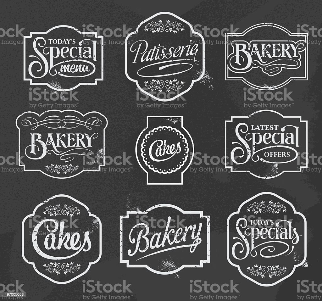chalkboard calligraphic vector signs vector art illustration
