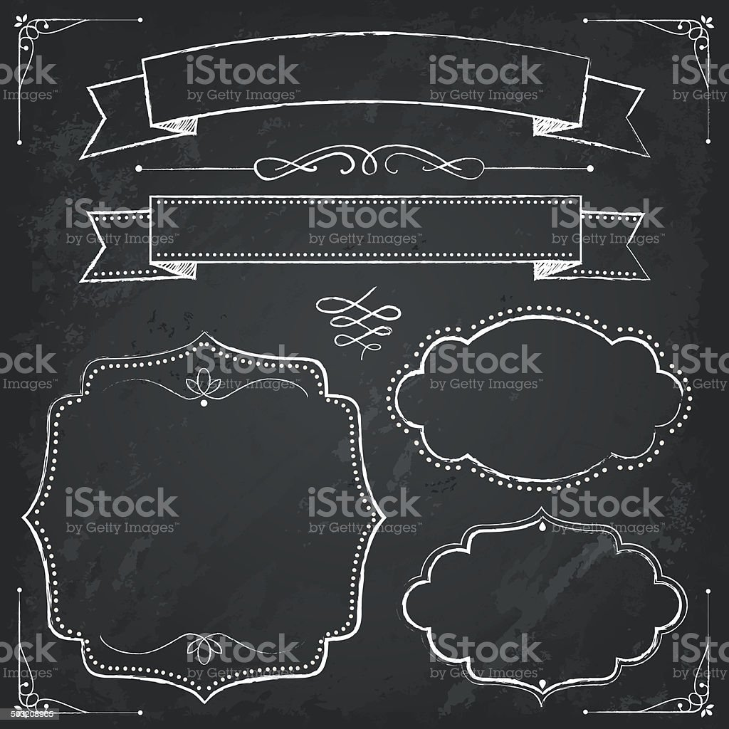 Chalkboard calligraphy banners vector art illustration
