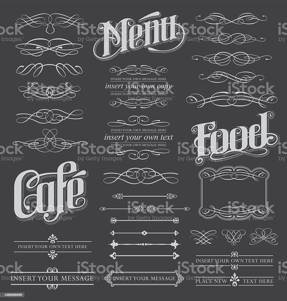 Chalkboard calligraphy menu design set vector art illustration