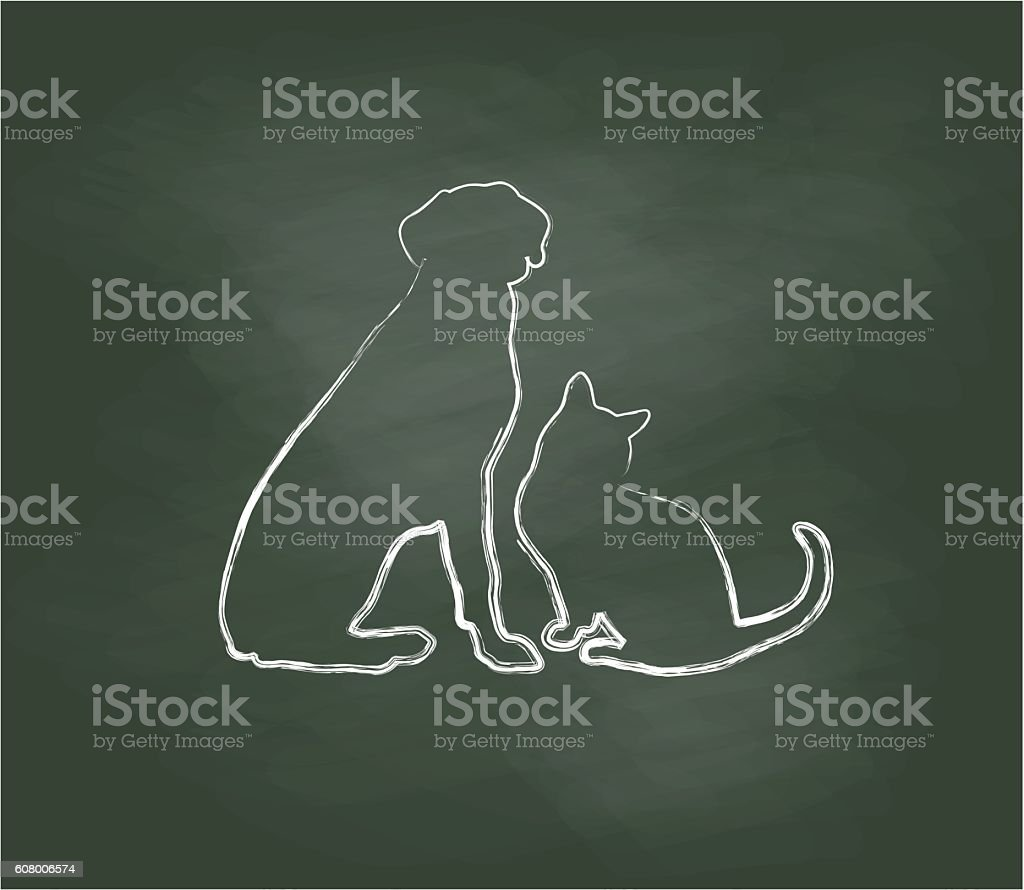 Chalkboard Cat And Dog Sitting vector art illustration