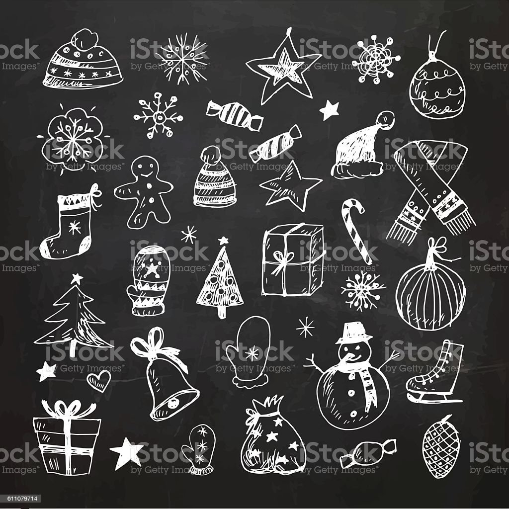 Chalkboard Christmas doodles set vector art illustration