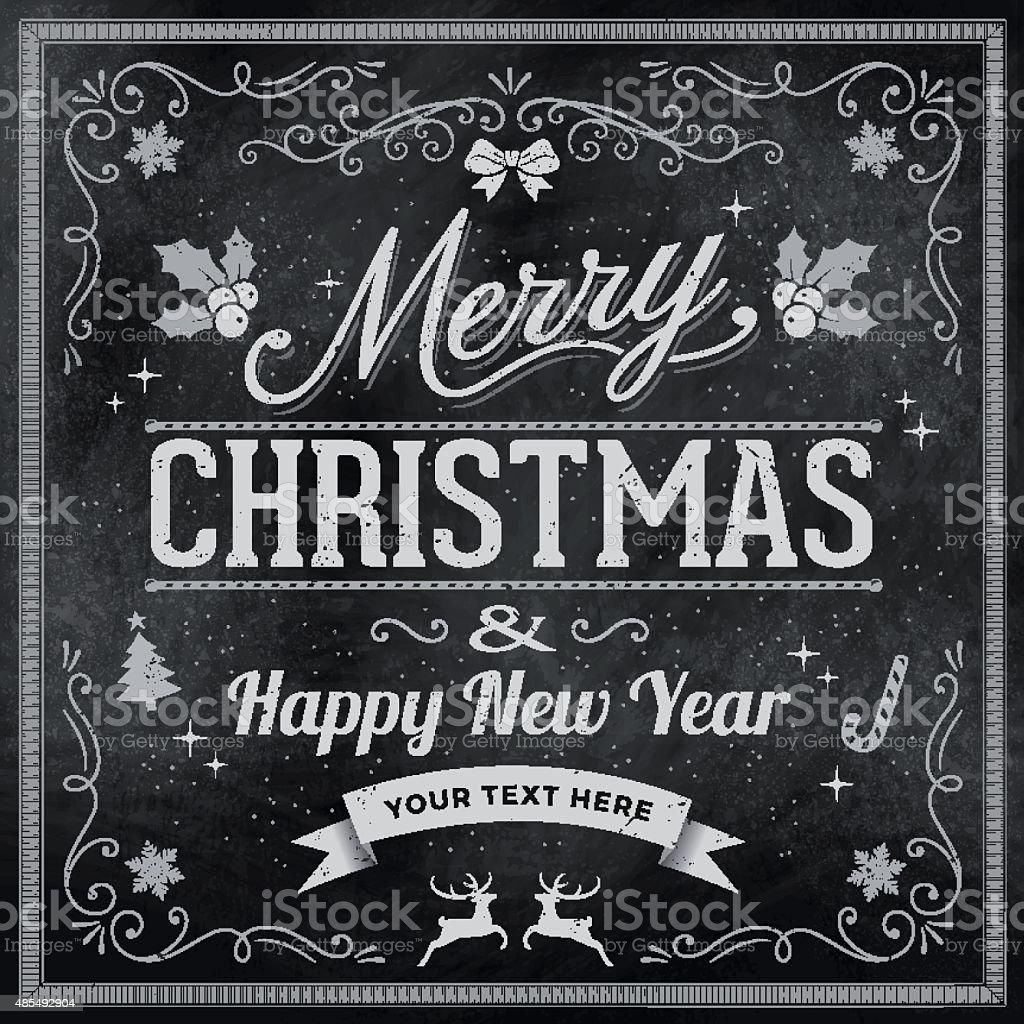 Chalkboard Christmas Greeting card vector art illustration