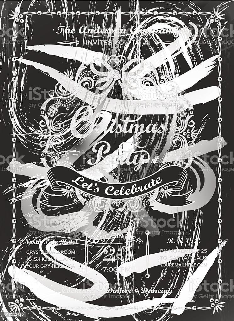 Chalkboard Christmas Party Wreath Invitation vector art illustration