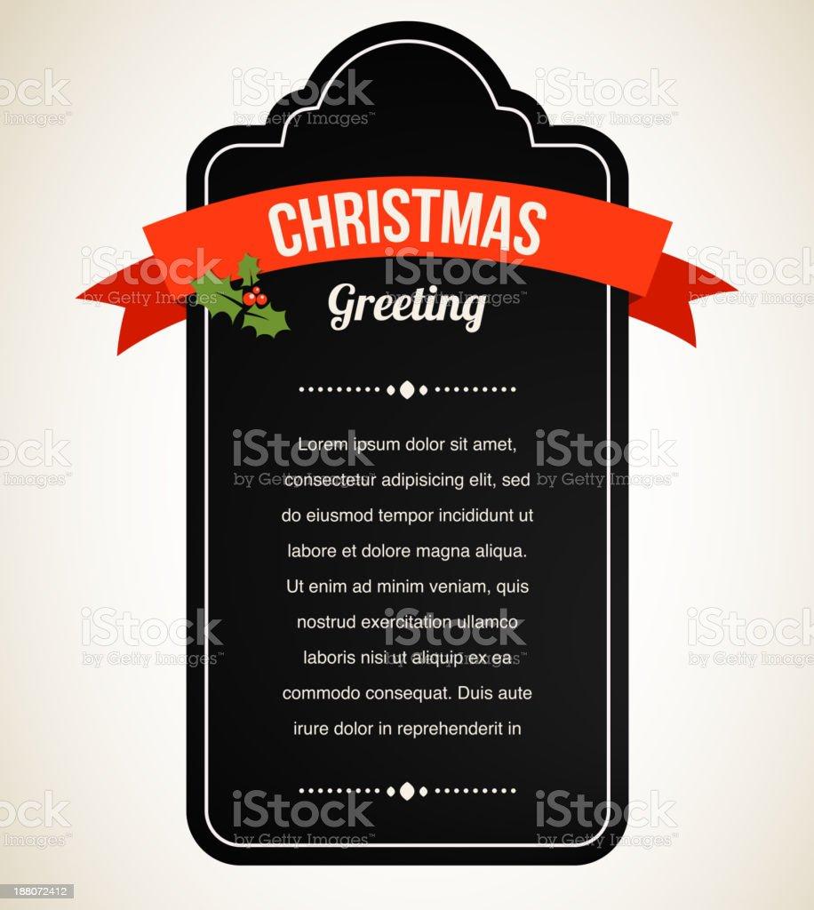 Chalkboard Christmas vintage invitation and label vector art illustration