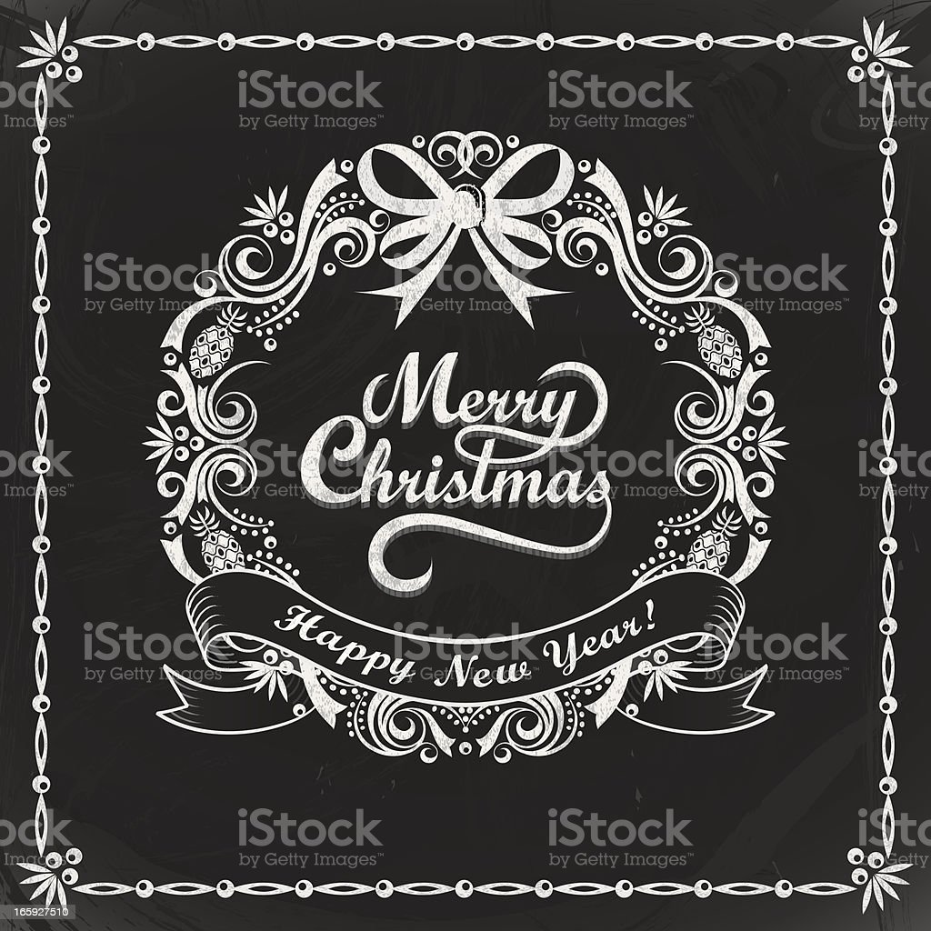 Chalkboard Christmas Wreath Card royalty-free stock vector art
