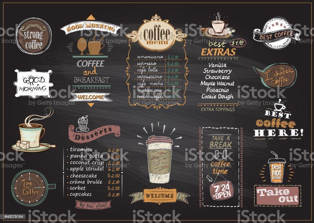 Chalkboard coffee and desserts menu list designs set vector art illustration