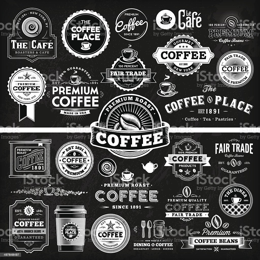 Chalkboard Coffee Label Megaset vector art illustration