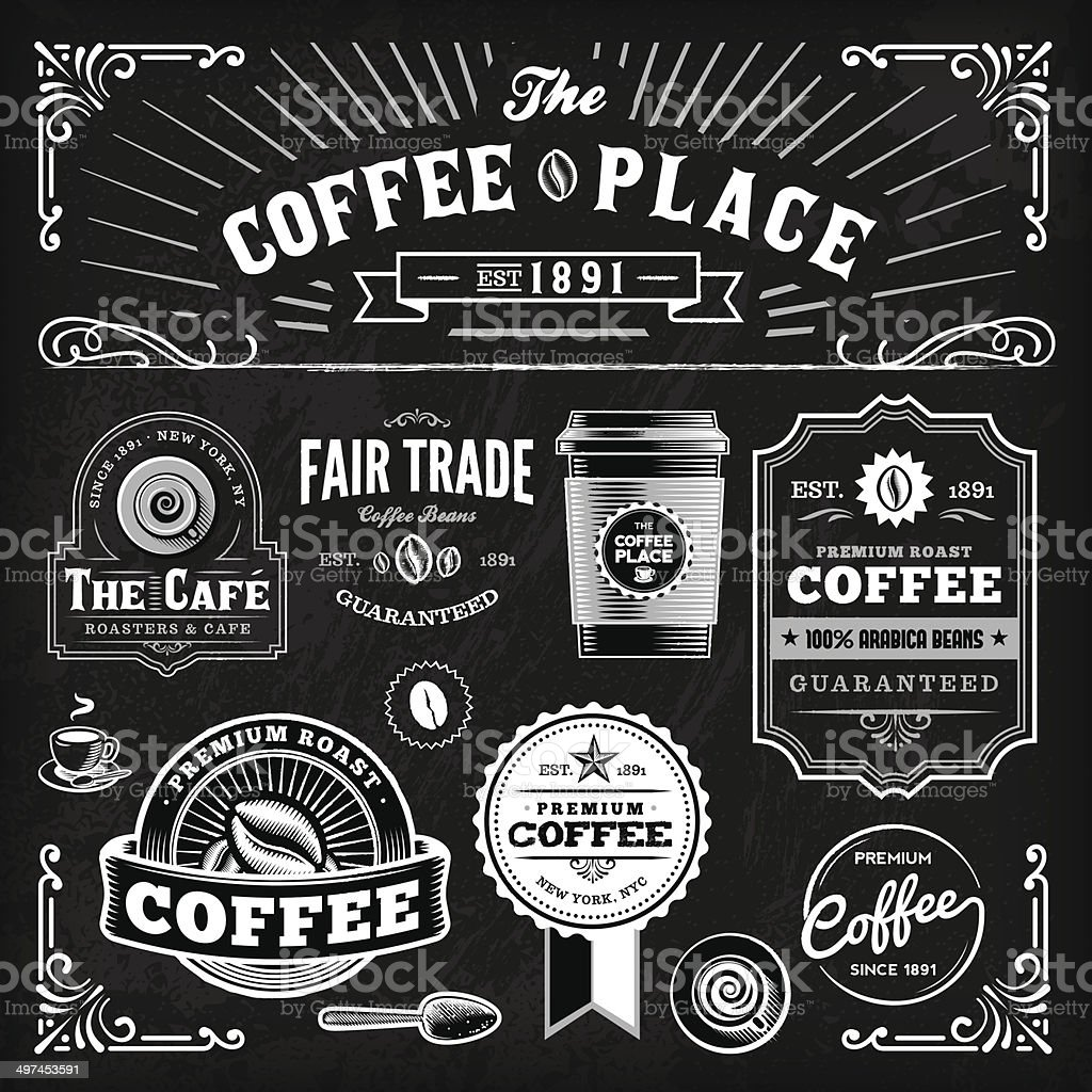 Chalkboard Coffee Label Set vector art illustration