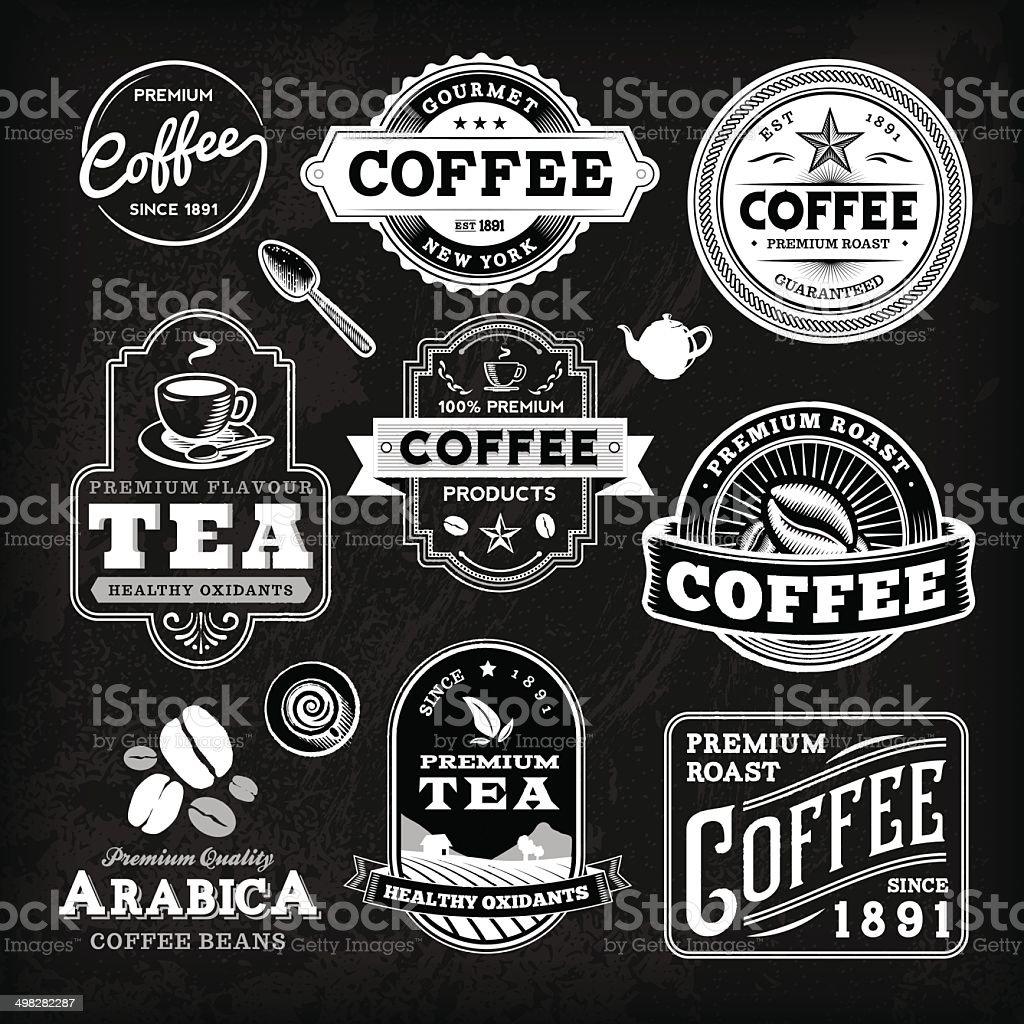 Chalkboard Coffee Label Set vector art illustration