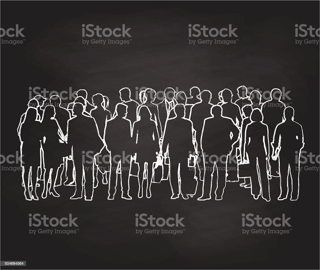Chalkboard Crowd Of People vector art illustration