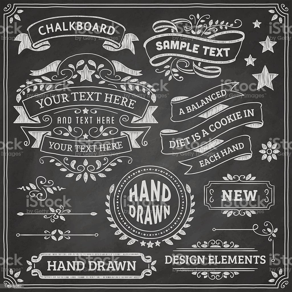 Chalkboard Design Elements vector art illustration