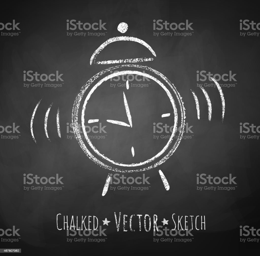 Chalkboard drawing of alarm clock. vector art illustration