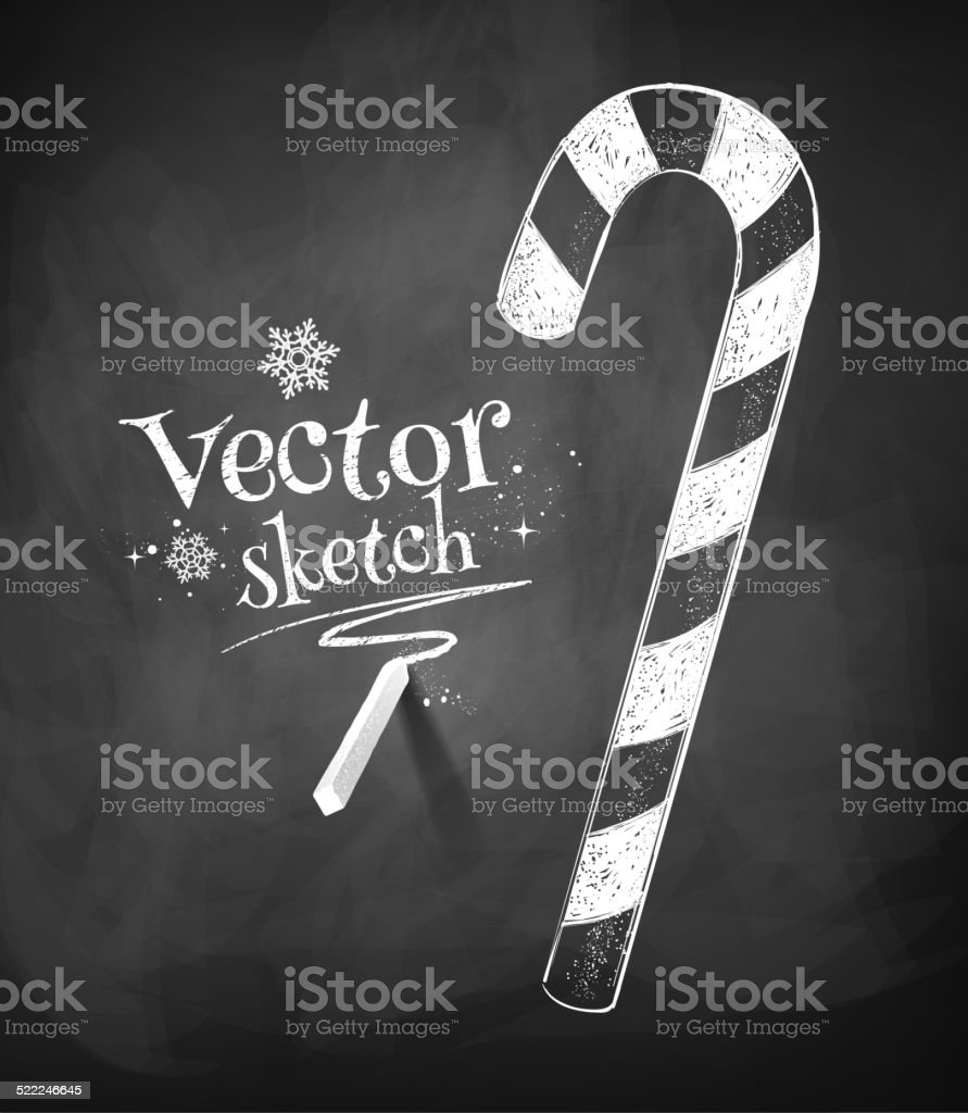 Chalkboard drawing of Christmas candy cane. Vector illustration. vector art illustration