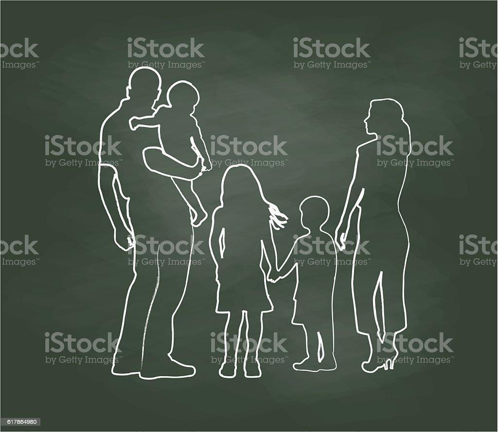 Chalkboard Family Pose Vector Illustration vector art illustration