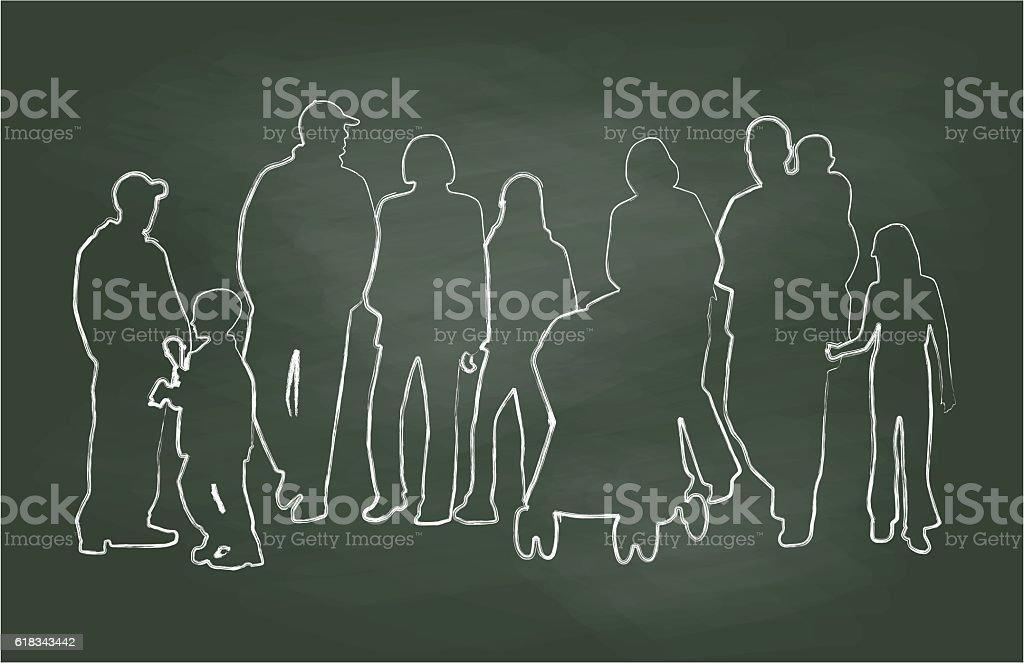 Chalkboard Family Reunion Vector Illustration vector art illustration