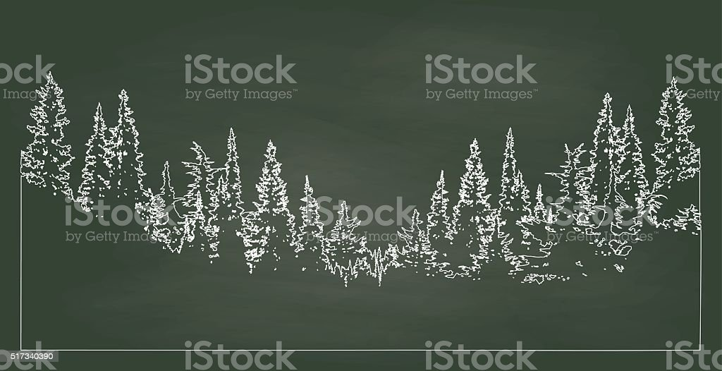 Chalkboard Forest vector art illustration