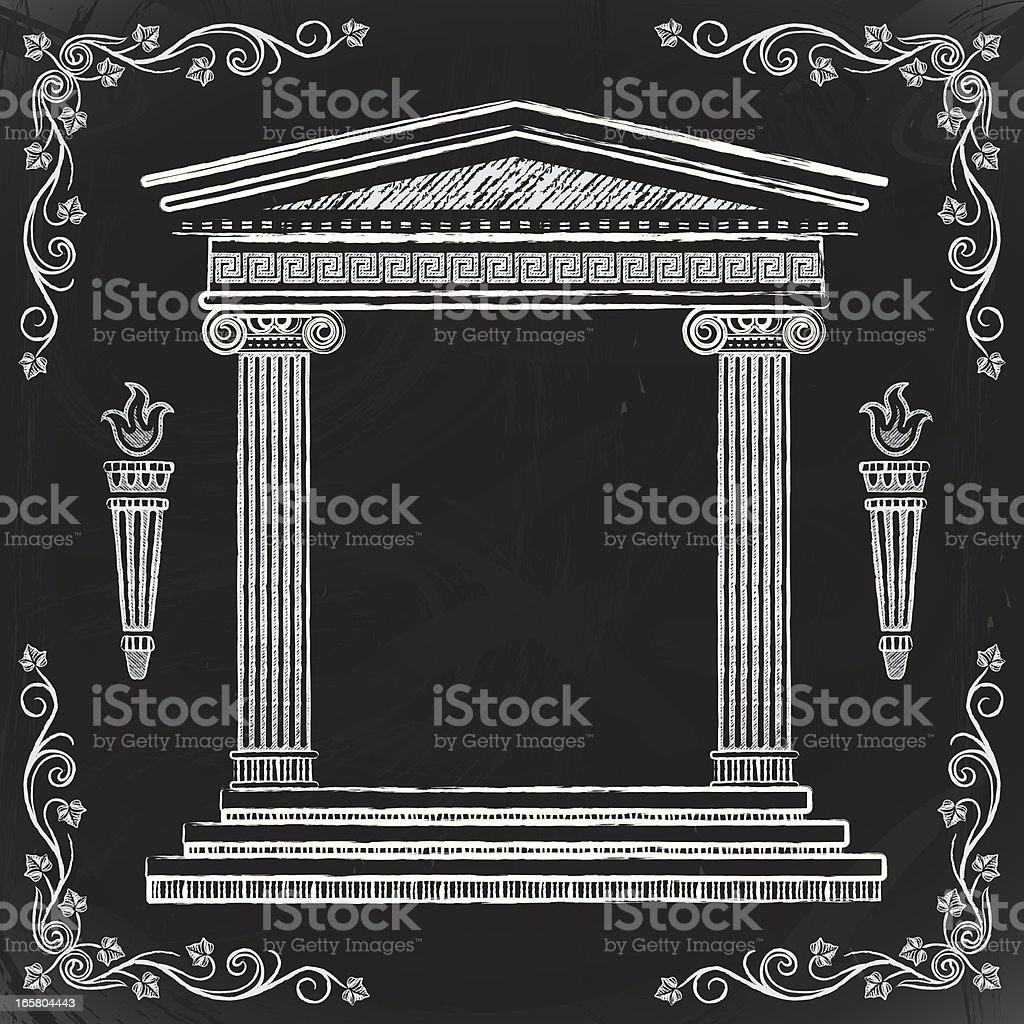 Chalkboard Greek Temple vector art illustration