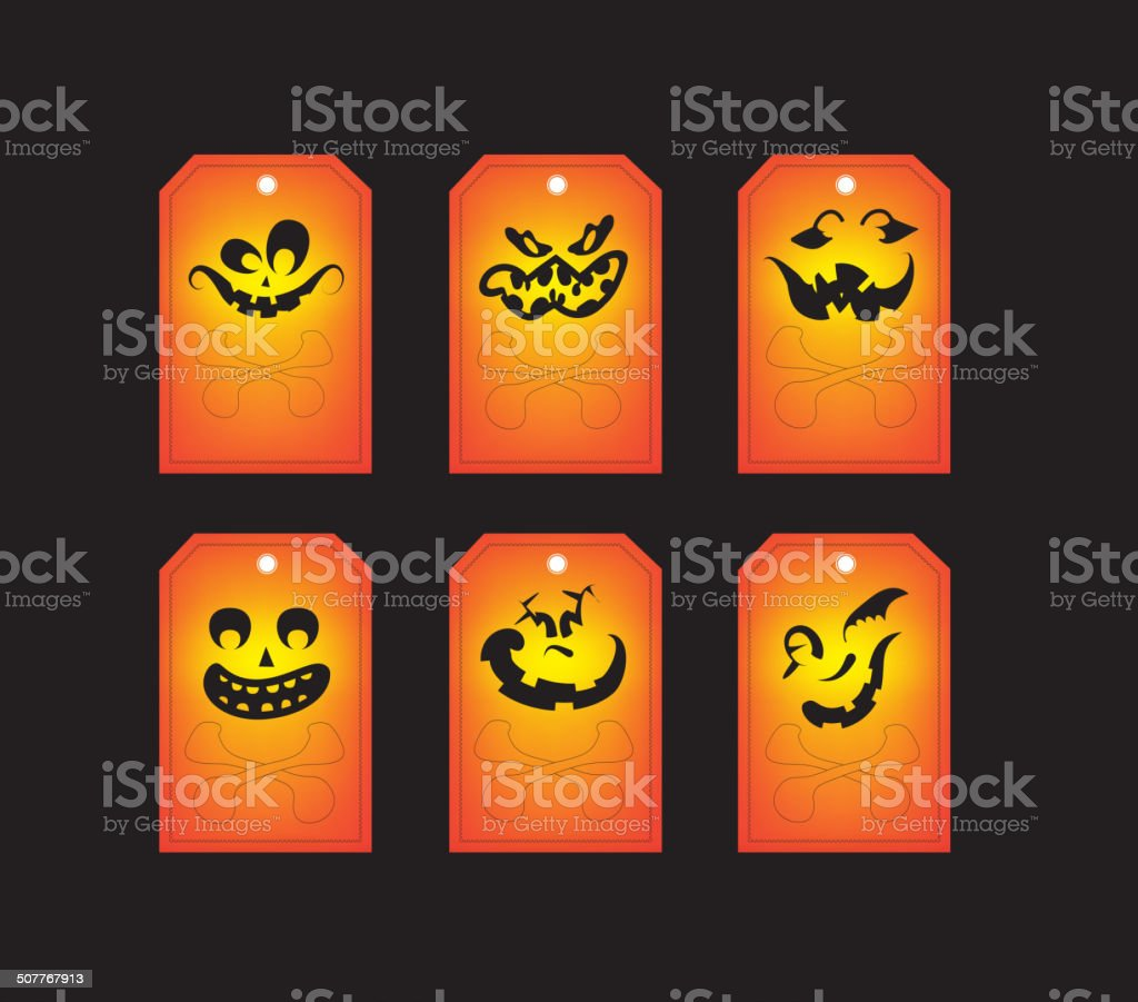 Chalkboard halloween gift tags vector art illustration