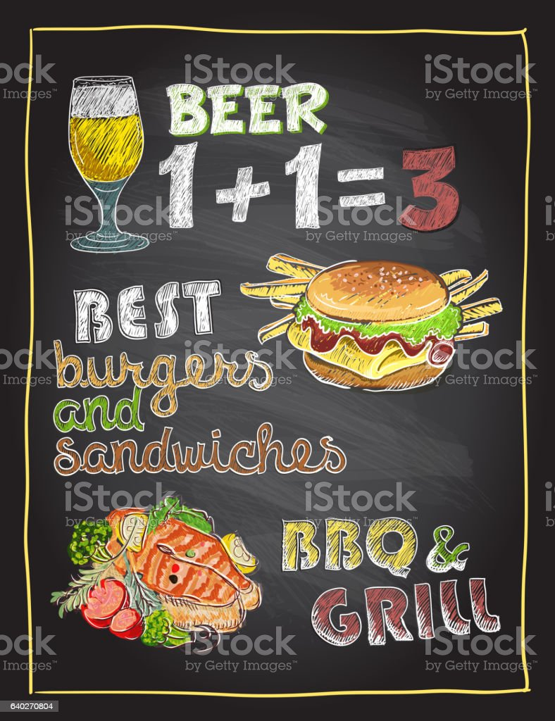 Chalkboard hand drawn menu with beer, burger and grilled fish vector art illustration