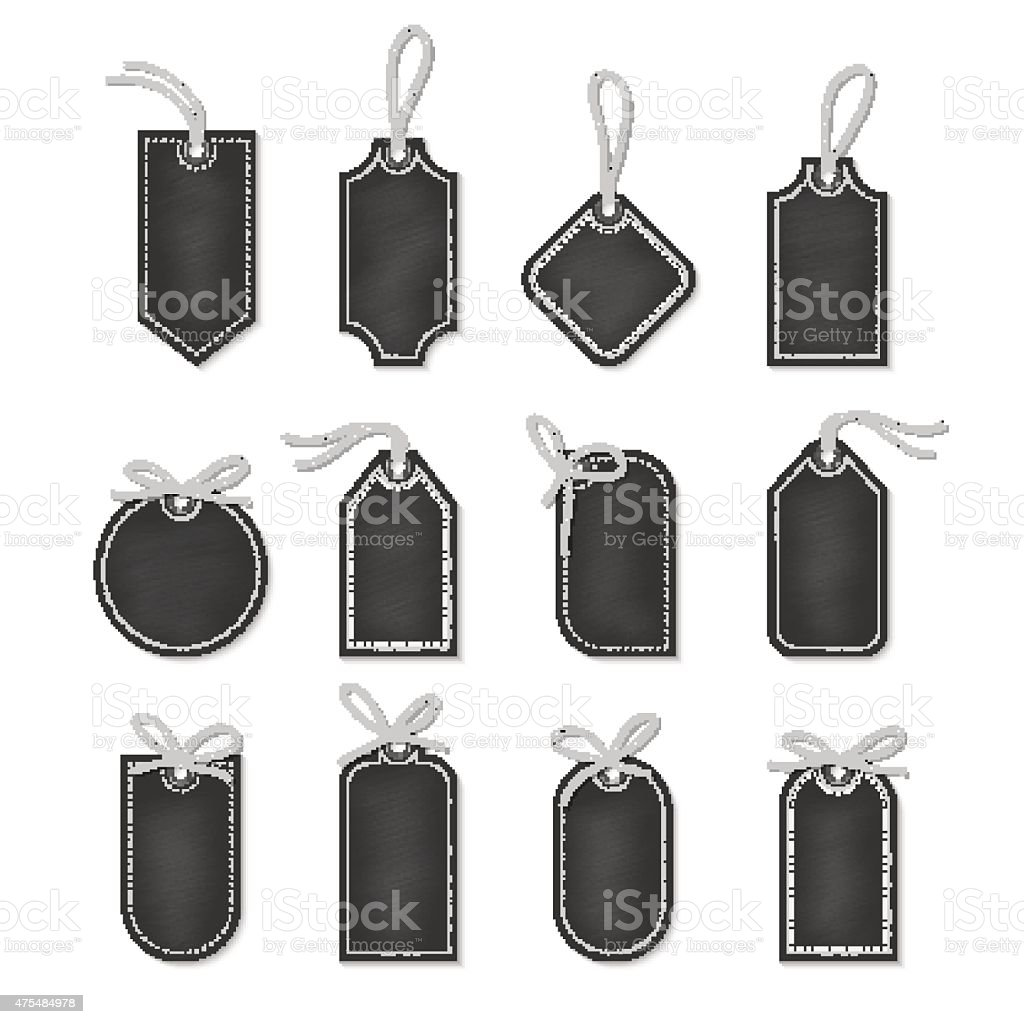 Chalkboard labels with bakers twine bows ribbons vector art illustration