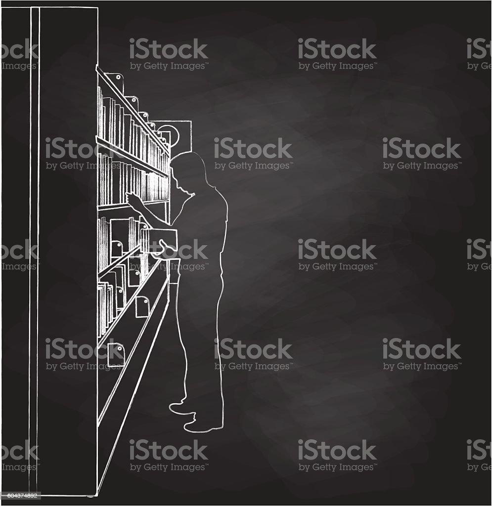 Chalkboard Library Book Choices Vector Illustration vector art illustration