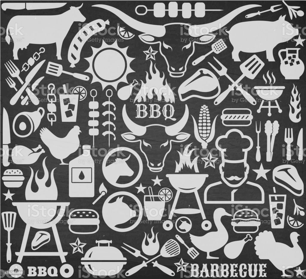 Chalkboard llustrations and icons with barbecue symbols. vector art illustration