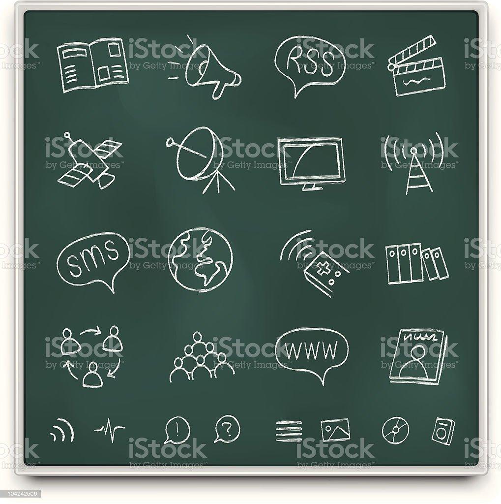 Chalkboard media icons royalty-free stock vector art