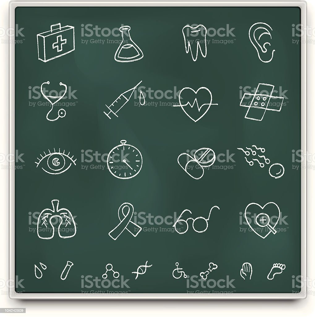 Chalkboard medical icons vector art illustration