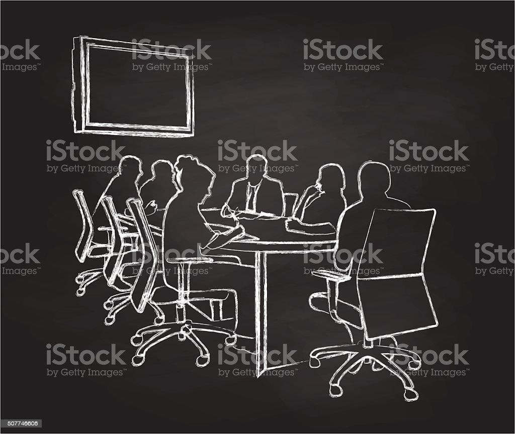 Chalkboard Meeting vector art illustration