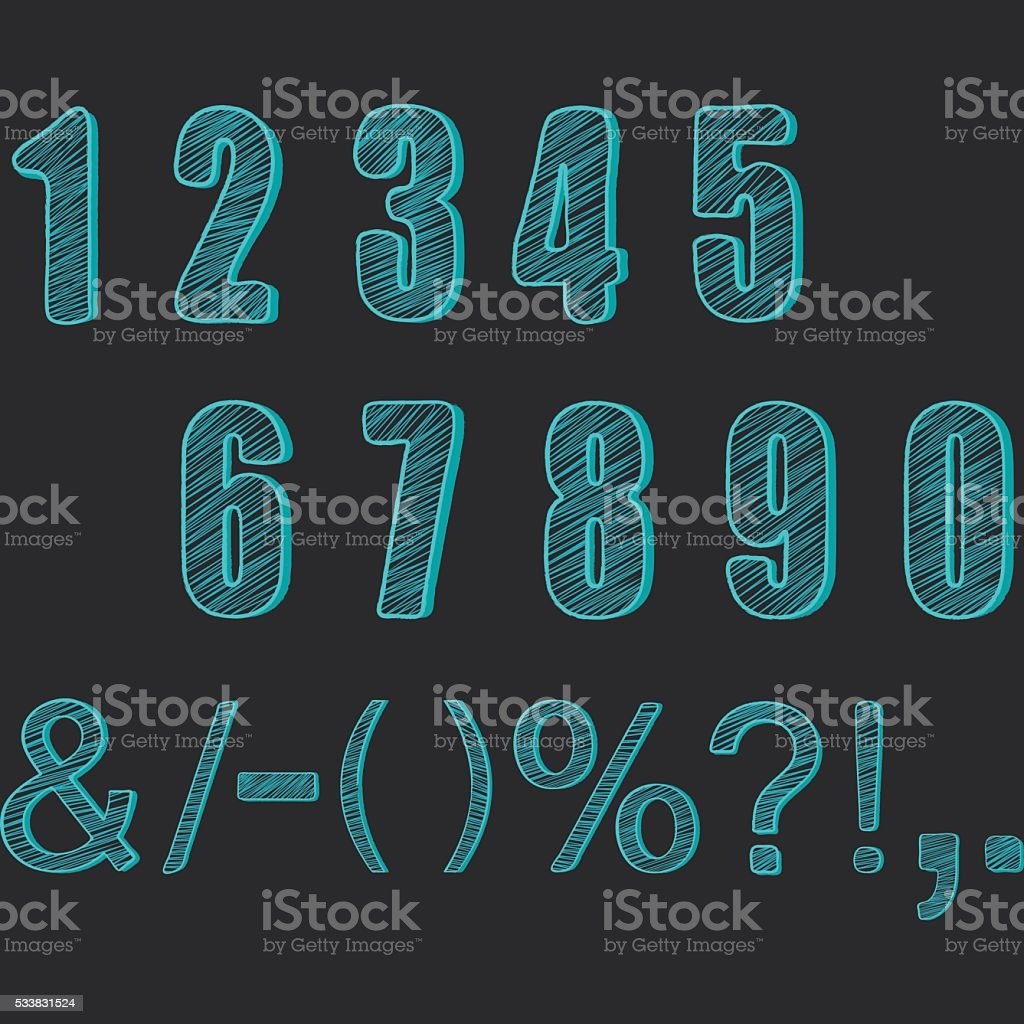 Chalkboard Numbers collections.Chalk Numbers Calligraphy,Font Element. vector art illustration