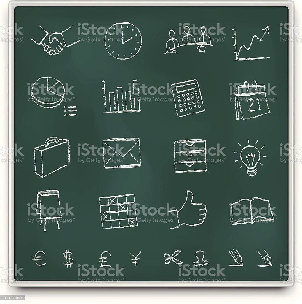Chalkboard office icons royalty-free stock vector art