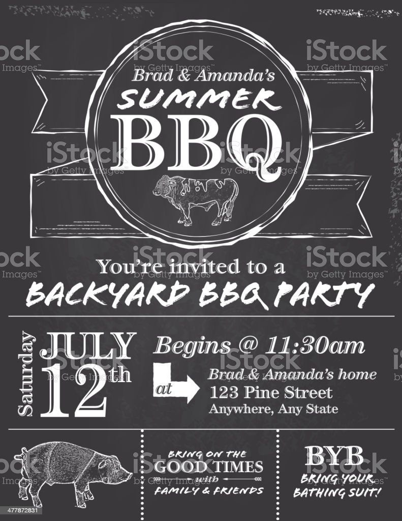 BBQ chalkboard or blackboard invitation design template vector art illustration