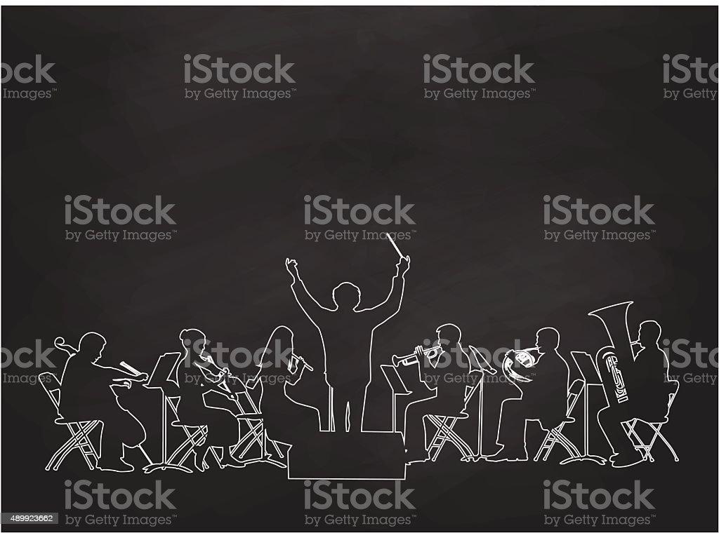 Chalkboard Orchestra vector art illustration